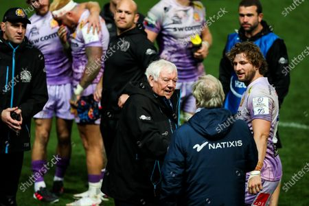Stock Image of Exeter Chiefs Chairman and CEO Tony Rowe is congratulated by Racing 92 President Jacky Lorenzetti after Exeter Chiefs win the game 31-27 win the Heineken Champions Cup