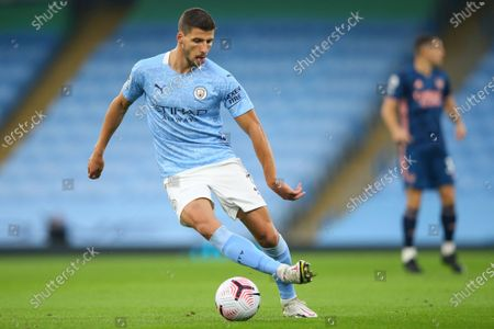 Ruben Dias of Manchester City in action during the English Premier League soccer match between Manchester City and Arsenal FC in Manchester, Britain, 17 October 2020.
