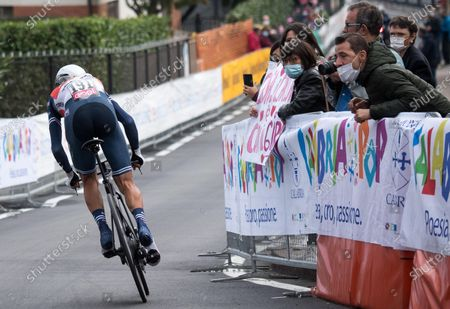 Italian rider Vincenzo Nibali of the Trek Segafredo team in action during the 14th stage of the 2020 Giro d'Italia cycling race, an individual time trial over 34.1km from Conegliano to Valdobbiadene, Italy, 17 October 2020.