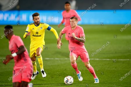 Toni Kroos of Real Madrid and Jose Mari of Cadiz in action during the spanish league, La Liga Santander, football match played between Real Madrid and Cadiz CF at Alfredo Di Stegfano stadium on October 17, 2020 in Madrid, Spain.
