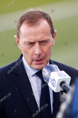 Stock Image of Emilio Butragueno, Sports Director of Real Madrid, attends during the spanish league, La Liga Santander, football match played between Real Madrid and Cadiz CF at Alfredo Di Stegfano stadium on October 17, 2020 in Madrid, Spain.