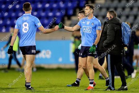 Dublin vs Meath. Dublin's Brian Fenton celebrates after the game with Dean Rock