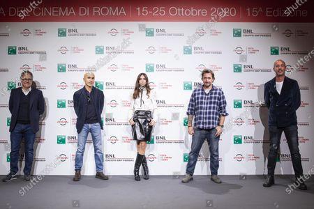"""Paolo del Brocco, Lorenzo Mieli, Virginia Valsecchi, Alex Infascelli, Nicola Maccanico attends the photocall of the movie """"Mi chiamo Francesco Totti"""" during the 15th Rome Film Festival on October 17, 2020 in Rome, Italy"""