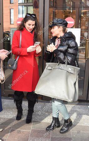 Bianca Bowie-Phillips and Elen Rivas departing Harrod's