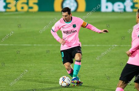 Lionel Messi of FC Barcelona controls the ball during the spanish league,  La Liga, football match played between Getafe CF and FC Barcelona at Coliseum Alfonso Perez on October 17, 2020 in Getafe, Madrid, Spain.