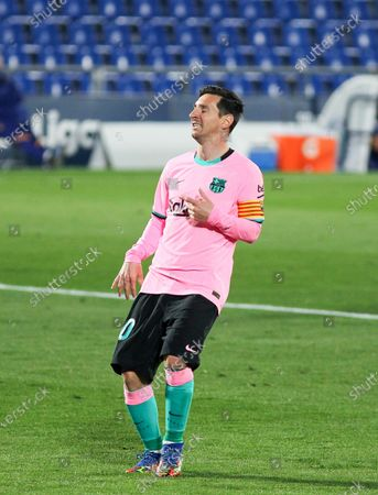 Lionel Messi of FC Barcelona lamenting  during the spanish league,  La Liga, football match played between Getafe CF and FC Barcelona at Coliseum Alfonso Perez on October 17, 2020 in Getafe, Madrid, Spain.