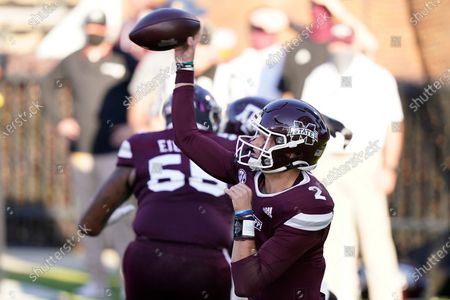 Mississippi State quarterback Will Rogers (2) passes against Texas A&M during the second half of an NCAA college football game in Starkville, Miss