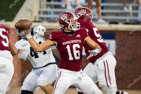 Massachusetts quarterback Josiah Johnson (16) passes down field during the second half of an NCAA football game against Georgia Southern, in Statesboro, Ga
