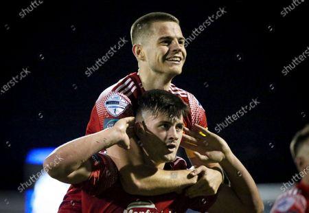 Glenavon vs Portadown. Portadown's Lee Bonis celebrates scoring a goal with Luke Wilson