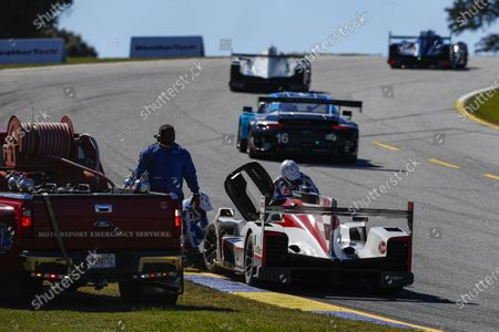 ROAD ATLANTA, UNITED STATES OF AMERICA - OCTOBER 17: #85 JDC-Miller Motorsports Cadillac DPi, DPi: Matheus Leist, Chris Miller, Gabriel Aubry, Crash during the Road Atlanta II at Road Atlanta on October 17, 2020 in Road Atlanta, United States of America. (Photo by Jake Galstad / LAT Images)