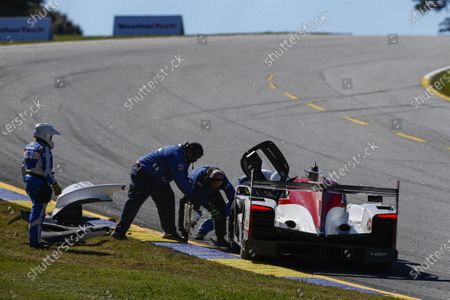 Stock Photo of ROAD ATLANTA, UNITED STATES OF AMERICA - OCTOBER 17: #85 JDC-Miller Motorsports Cadillac DPi, DPi: Matheus Leist, Chris Miller, Gabriel Aubry, Crash during the Road Atlanta II at Road Atlanta on October 17, 2020 in Road Atlanta, United States of America. (Photo by Jake Galstad / LAT Images)