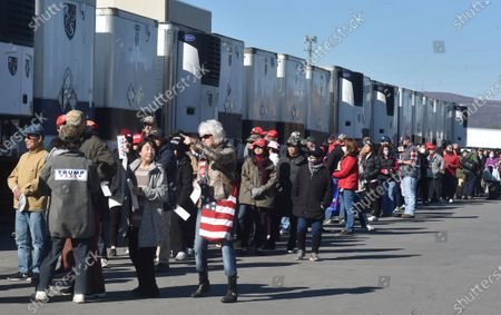 Supporters in a queue waiting to see Eric Trump at the Road Scholar, Trucking company during the rally. Eric Trump speaks to approximately 400 people in Dunmore, PA, it's the city adjacent to Joe Biden's childhood home of Scranton. March of the audience was made up of a group called Japan 4 Donald Trump, as Eric Trump speaks of gun rights and Amy Coney Barrett.