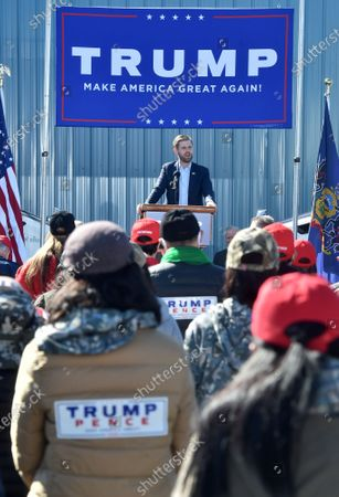 Eric Trump speaking on behalf of his father President Donald Trump, at the Road Scholar, Trucking company during the rally. Eric Trump speaks to approximately 400 people in Dunmore, PA, it's the city adjacent to Joe Biden's childhood home of Scranton. March of the audience was made up of a group called Japan 4 Donald Trump, as Eric Trump speaks of gun rights and Amy Coney Barrett.