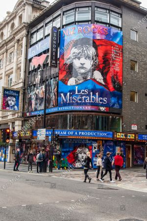 New signage on the Sondheim theatre completed after Producer Cameron Mackintosh announced that Les Miserables is set to come back to London's West End by Christmas with tickets going on sale soon after having shut due to the UK entering lockdown.