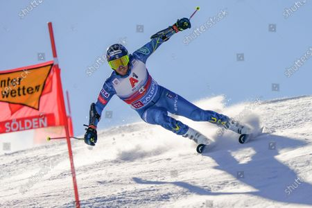 United States' Ted Ligety speeds down the course during an alpine ski, men's World Cup giant slalom in Soelden, Austria