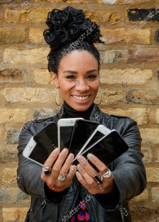 Stock Picture of Michelle Ackerley urges Brits to trade in their phones and unlock savings using Vodafone's new trade-in tool, the ONLY place consumers can get a guaranteed instant value on their handset and save up to £360 on the new iPhone 12! 88% of Brits have never traded in despite research with YouGov showing Brits could save £6.9 billion if they did. A shocking 4.7 million Brits have admitted to throwing a phone away in a bin even though trading in your phone is much better for the environment. Simply download the MyVodafone app to find out what you could save. www.vodafone.co.uk