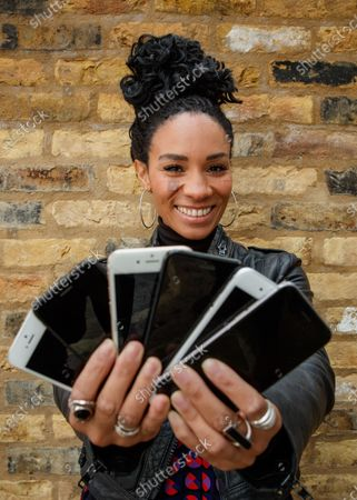 Stock Image of Michelle Ackerley urges Brits to trade in their phones and unlock savings using Vodafone's new trade-in tool, the ONLY place consumers can get a guaranteed instant value on their handset and save up to £360 on the new iPhone 12! 88% of Brits have never traded in despite research with YouGov showing Brits could save £6.9 billion if they did. A shocking 4.7 million Brits have admitted to throwing a phone away in a bin even though trading in your phone is much better for the environment. Simply download the MyVodafone app to find out what you could save. www.vodafone.co.uk