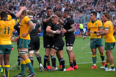 NZ's Tupou Vaa'i congratulates Aaron Smith on his try during the Bledisloe Cup rugby union match