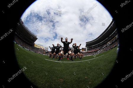 All Blacks captain Sam Cane leads the haka before the Bledisloe Cup match