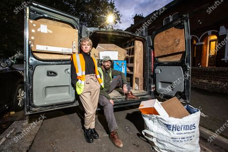 West End actress Anne-Jane Casey and husband Graham Macduff are currently working as delivery drivers after being out of work due to the coronavirus crisis that has closed all theatres and music venues across the capital. Photographed outside their home with their van.