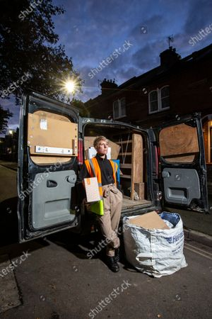 West End actress Anne-Jane Casey is currently working as delivery drivers after being out of work due to the coronavirus crisis that has closed all theatres and music venues across the capital. Photographed outside their home with their van.
