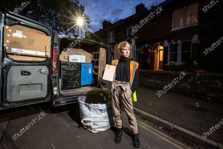 Stock Photo of West End actress Anne-Jane Casey is currently working as delivery drivers after being out of work due to the coronavirus crisis that has closed all theatres and music venues across the capital. Photographed outside their home with their van.
