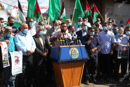 Stock Picture of Palestinian supporters of Hamas movment take part in a rally to mark the 9th anniversary of a deal which saw the exchange of 1,027 Palestinian prisoners for captured Israeli soldier Gilad Shalit, in front of Red Cross office, in Gaza city, on October 18, 2020.