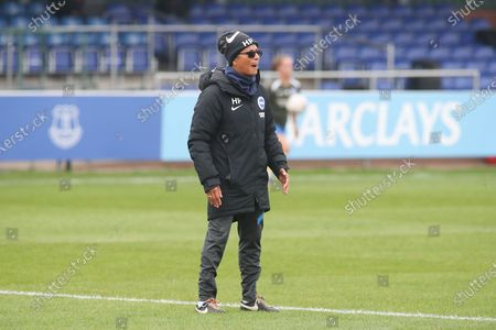 Hope Powell manager of Brighton and hove Albion Women gives instructions during the FA Women's Super League match between Everton Women and Brighton and Hove Albion Women at the Select Security Stadium, Halton
