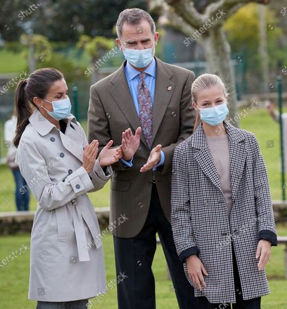 King Felipe VI, Queen Letizia, Crown Princess Leonor visit Somao, which has been honoured as the 2020 Best Asturian Village, the day after 'Princesa de Asturias' Awards in Somao, Oviedo