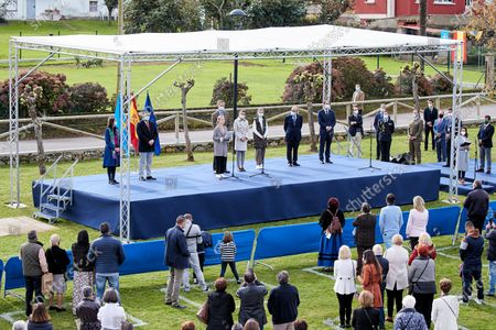 King Felipe VI, Queen Letizia, Crown Princess Leonor and Infanta Sofia visit Somao, which has been honoured as the 2020 Best Asturian Village, the day after 'Princesa de Asturias' Awards in Somao, Oviedo