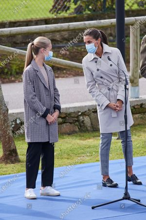 Queen Letizia, Crown Princess Leonor visit Somao, which has been honoured as the 2020 Best Asturian Village, the day after 'Princesa de Asturias' Awards in Somao, Oviedo