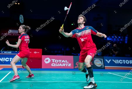Stock Image of Mark Lamsfuss (R) and Isabel Herttrich of Germany in action during the mixed doubles final match against Chris Adcock (R) and Gabrielle Adcock of England at the Danisa Denmark Open Badminton tournament in Odense, Denmark, 18 October 2020.
