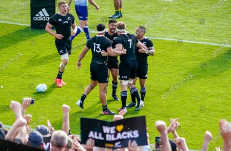 New Zealand vs Australia. New Zealand's Sam Cane celebrates scoring a try with Aaron Smith, Anton Lienert-Brown and Richie Mo'unga
