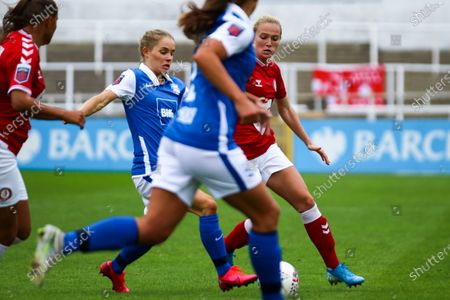 Jemma Purfield of Bristol City Women is challenged by Connie Scofield of Birmingham City Women- Mandatory by-line: Will Cooper/JMP