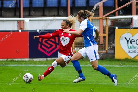 Ebony Salmon of Bristol City Women crosses the ball- Mandatory by-line: Will Cooper/JMP