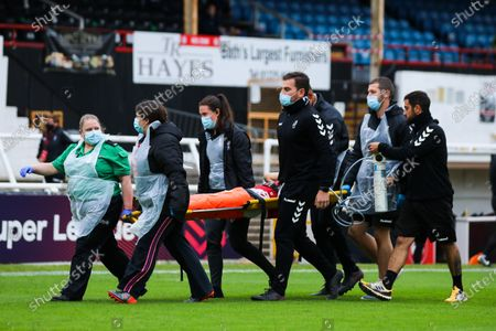 Aimee Palmer of Bristol City Women is stretchered off after an injury- Mandatory by-line: Will Cooper/JMP
