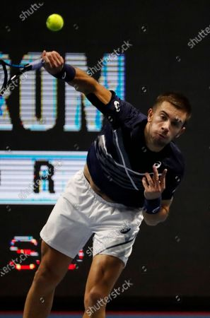 Borna Corcic of Croatia in action against Andrey Rublev of Russia during their final match of the St.Petersburg Open ATP tennis tournament in St.Petersburg, Russia, 18 October 2020.