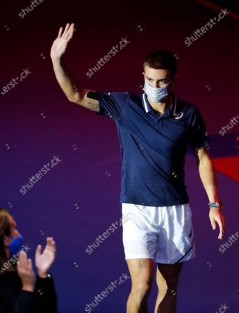 Borna Coric of Croatia waves after losing his final match against Andrey Rublev of Russia at the St.Petersburg Open ATP tennis tournament in St.Petersburg, Russia, 18 October 2020.