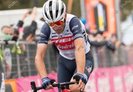Italian rider Vincenzo Nibali of Trek Segafredo team reacts after crossing the finish line during the 15th stage of the Giro d'Italia 2020 cycling race, over 185 km, from Rivolto Military Airport, near Udine, to Piancavallo, near Pordenone, Friuli Venezia Giulia Region, Italy, 18 October 2020.