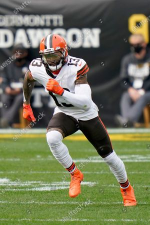 Cleveland Browns wide receiver Odell Beckham Jr. (13) in action during an NFL football game against the Pittsburgh Steelers, in Pittsburgh