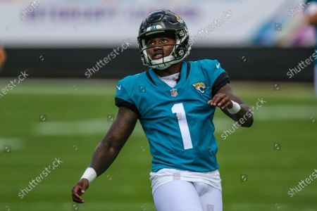Jacksonville Jaguars place kicker Jon Brown (1) warms up before an NFL football game against the Detroit Lions, in Jacksonville, Fla