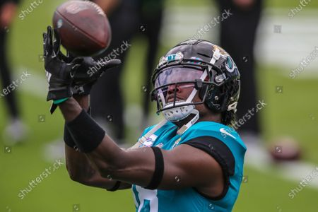 Jacksonville Jaguars wide receiver Chris Conley (18) during warmups before an NFL football game against the Detroit Lions, in Jacksonville, Fla