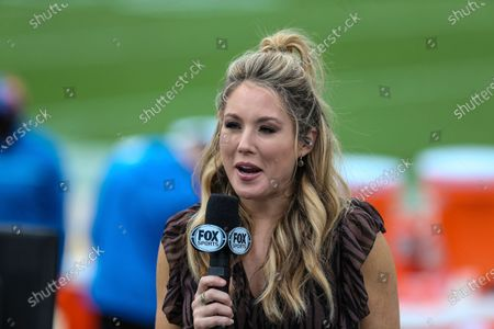 Stock Photo of On FOX Sideline Reporter Jennifer Hale before an NFL football game between the Jacksonville Jaguars and the Detroit Lions, in Jacksonville, Fla