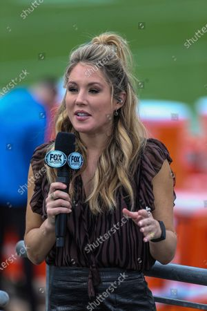 On FOX Sideline Reporter Jennifer Hale before an NFL football game between the Jacksonville Jaguars and the Detroit Lions, in Jacksonville, Fla