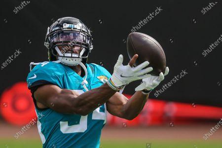 Jacksonville Jaguars running back Chris Thompson (34) before an NFL football game against the Detroit Lions, in Jacksonville, Fla