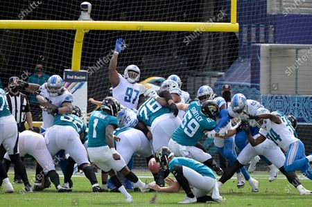 Stock Picture of Jacksonville Jaguars kicker Jon Brown (1) misses a field goal attempt during the first half of an NFL football game against the Detroit Lions, in Jacksonville, Fla