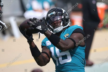 Stock Image of Jacksonville Jaguars wide receiver Chris Conley warms up before an NFL football game against the Detroit Lions, in Jacksonville, Fla