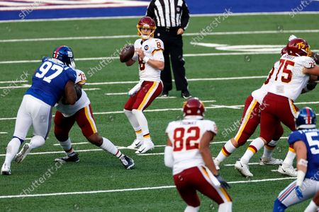 Washington Football Team quarterback Kyle Allen (8) in action during an NFL football game against the New York Giants, in East Rutherford, N.J