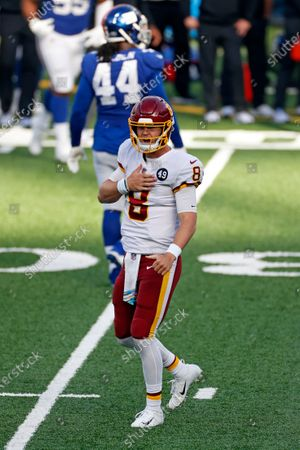 Stock Image of Washington Football Team quarterback Kyle Allen (8) reacts after throwing a touchdown pass during an NFL football game against the New York Giants, in East Rutherford, N.J