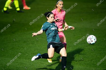 Stock Photo of Pilar Garcia of Rayo Vallecano and Kosovare Asllani of Real Madrid in action during the spanish women league, La Liga Iberdrola, football match played between Real Madrid Femenino and Rayo Vallecano Femenino at Ciudad Deportiva Real Madrid on October 18, 2020 in Valdebebas, Spain.